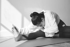Asian woman stretching body
