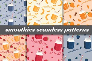 smoothies seamless patterns