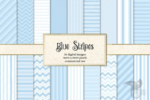 Blue Stripes Digital Paper & Overlay
