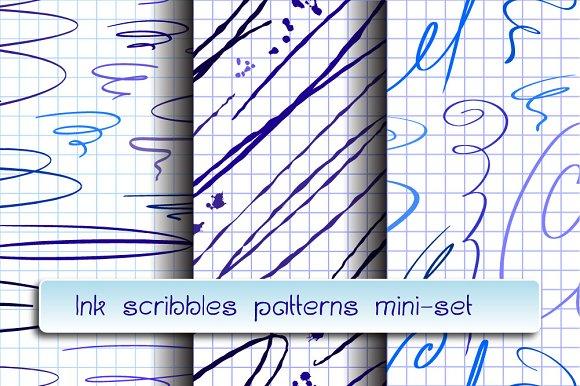Ink Skribbles Seamless Patterns Set