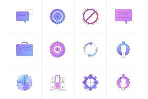 Neon business vector line icon set.