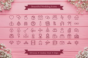Wedding Love Icon - Outline