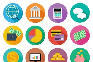 Icon set for finance, investment
