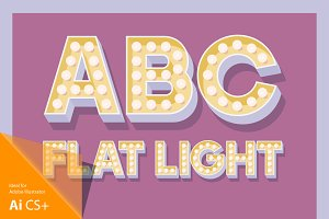 Illustration of flat lamp alphabet 3