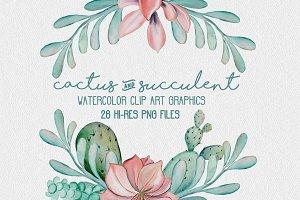 Cactus/Succulent Watercolor Clipart