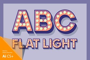 Illustration of flat lamp alphabet 4