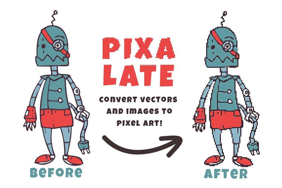 Pixalate Action ~ Photoshop Add-Ons ~ Creative Market