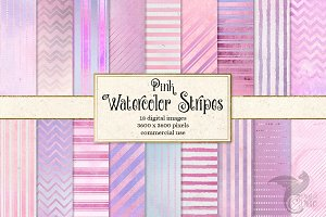 Pink Watercolor Stripe Digital Paper