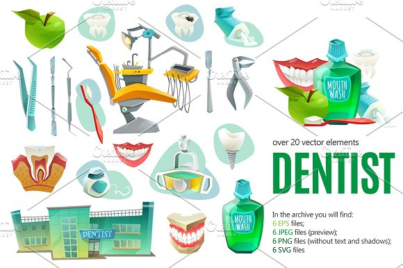 Dentist Cartoon Set