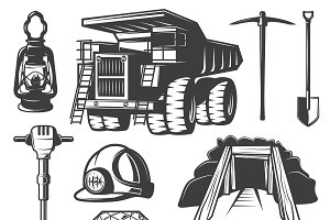 Mining Industry Elements Set