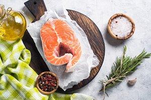 Fresh salmon fish steak