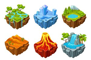 Computer Game Islands Isometric Set