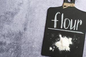 Flour on a Chalk Board