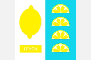 Lemon fruit icon set. Yellow slice.