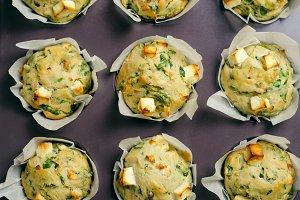 Spinach and Feta Cheese Muffins in Baking Tin