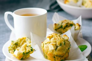 Freshly Baked Spinach and Feta Cheese Muffins