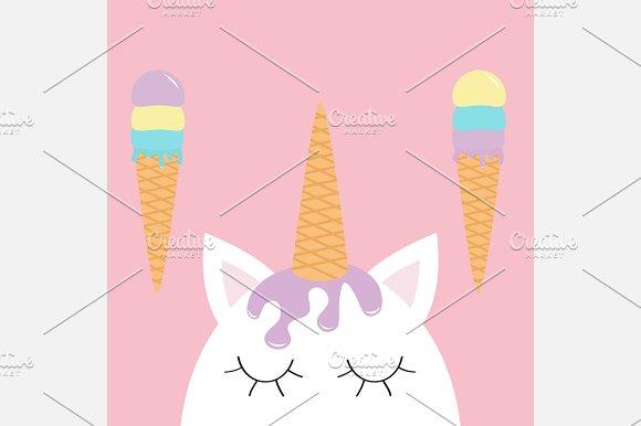 Cute unicorn head face.  Ice cream.