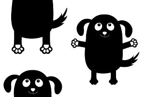 Black dog silhouette set