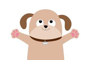 Dog puppy face. Paw print hug.