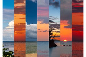 Collage of sea shots in sunset time