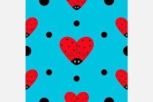 Ladybug Ladybird heart Pattern