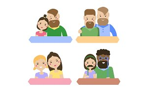Modern family, couples friends icons