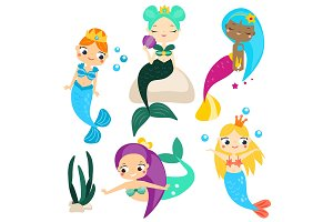 Cute mermaids set. Vector