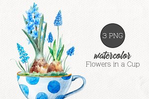 "Watercolor  set ""Flowers in a Cup"""