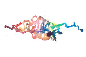 Color retro vintage abstract watercolour aquarelle art hand drawn paint