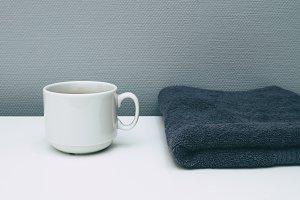 coffee and grey towel