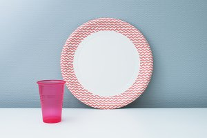 Paper plate and plastic cup