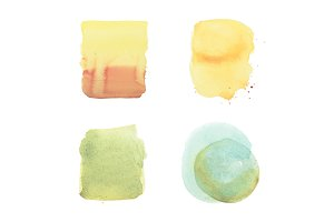 watercolor brush yellow green strokes and drops set, aquarelle simple geometric color patterns