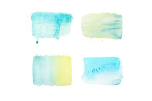 watercolor brush strokes and drops set, aquarelle simple geometric color patterns