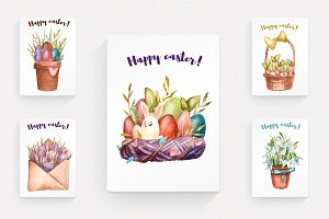 Watercolored Easter postcards