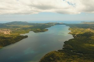 Tropical sea bay. Aerial view: Seascape Busuanga, Palawan, Philippines.