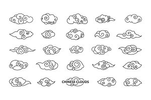 Chinese Clouds Collection Vector Illustration