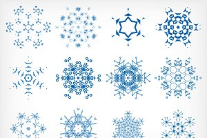Vector snowflakes set 3