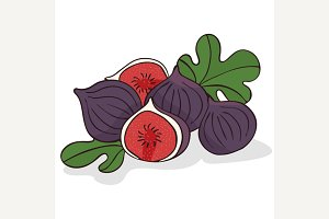 Isolate ripe figs or fig fruits