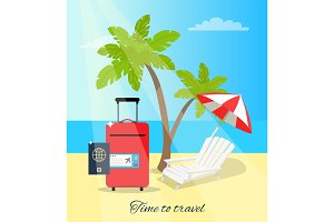 Time to Travel Seaside Poster Vector Illustration
