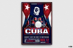 Cuban Live Salsa Flyer Template V3