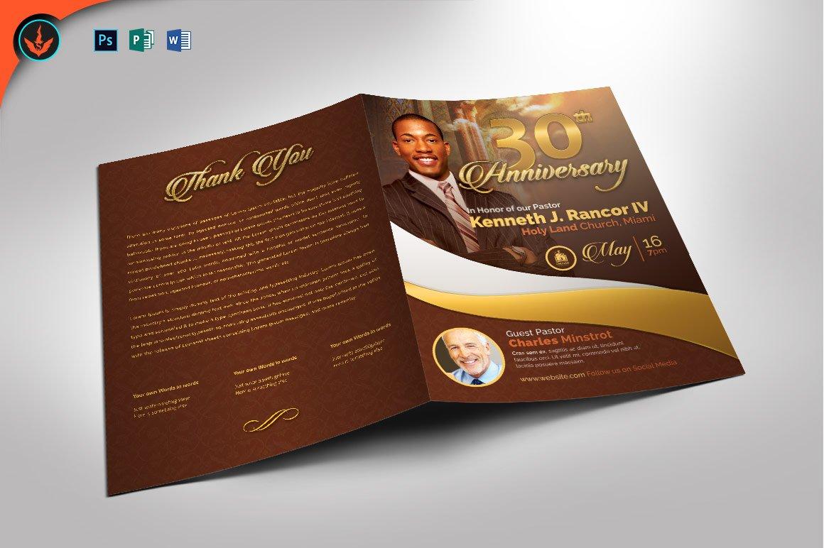 Pastors anniversary program brochure templates creative market altavistaventures Gallery