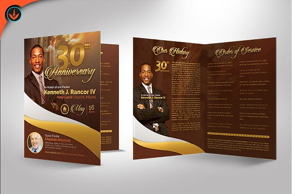Gold Pastors Anniversary Program Brochure Templates Creative Market