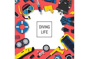 Vector underwater diving equipment background with white square and place for text