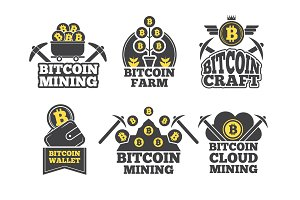 Labels or logos for companies. Monochrome badges for crypto industry