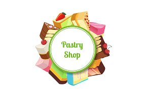 Vector illustration for pastry shop or confectionary with cartoon tasty cake