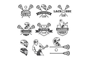 Labels of lacrosse club. Vector monochrome pictures set