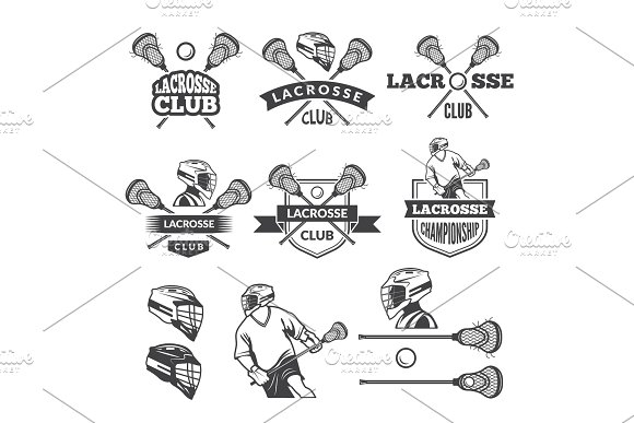 Labels Of Lacrosse Club Vector Monochrome Pictures Set