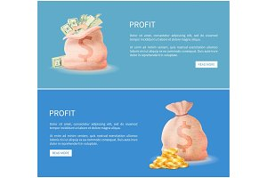 Profit Web Posters Set Sacks Full of Money Vector