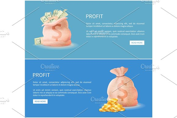 Profit Web Posters Set Sacks Full Of Money Vector