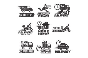 Monochrome labels and icons for delivery service